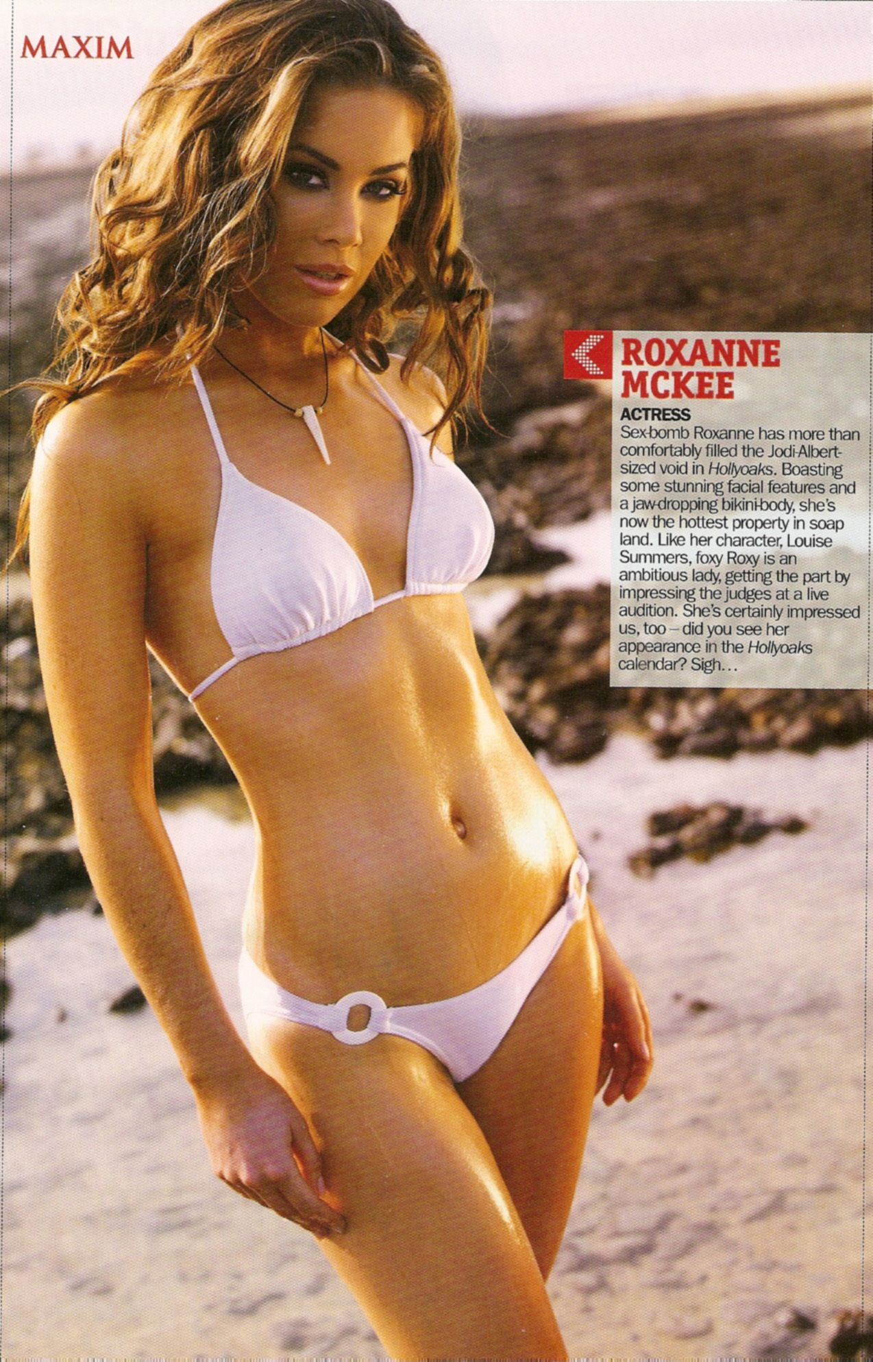 Roxanne McKee Hot in White Bikini