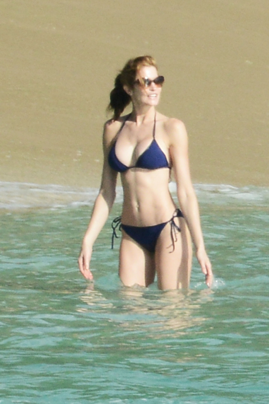 Stephanie Seymour spends her holiday on the beach in St Barths with Lily and Harry