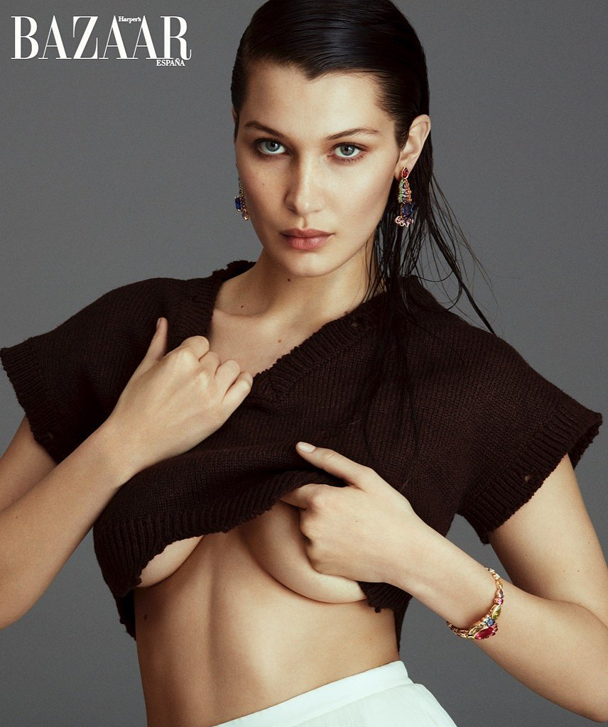 bella hadid side boobs