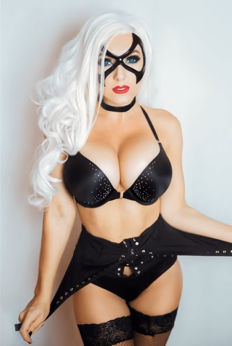 Black Cat sexy cleavage photo
