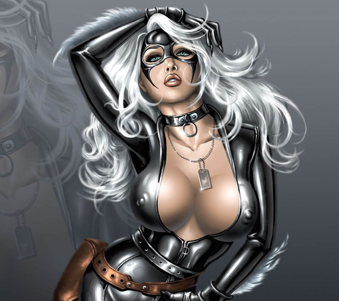 Black Cat sexy cleavage picture
