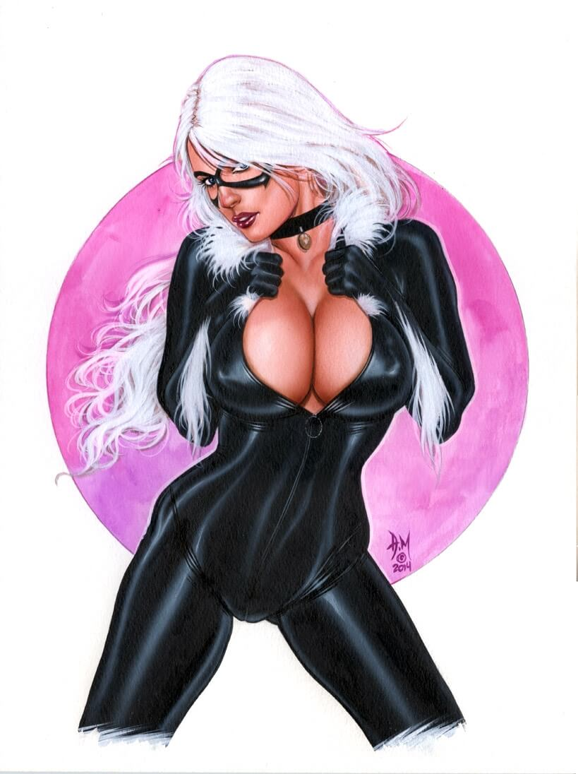 Black Cat sexy cleavage pictures