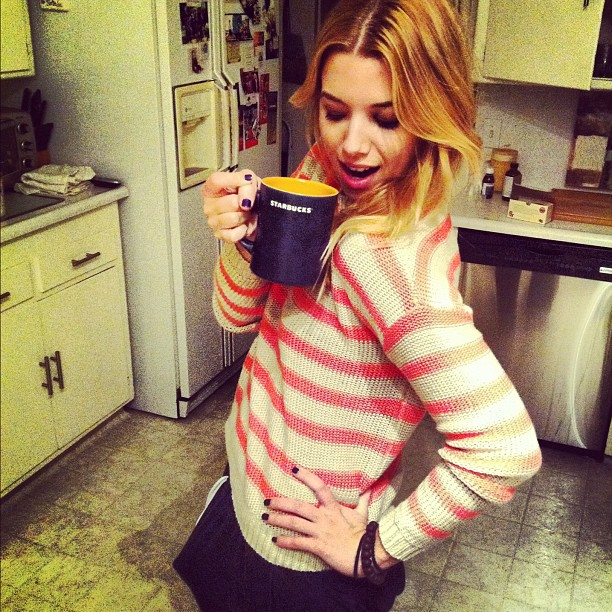Carlie Casey Drinking Coffee