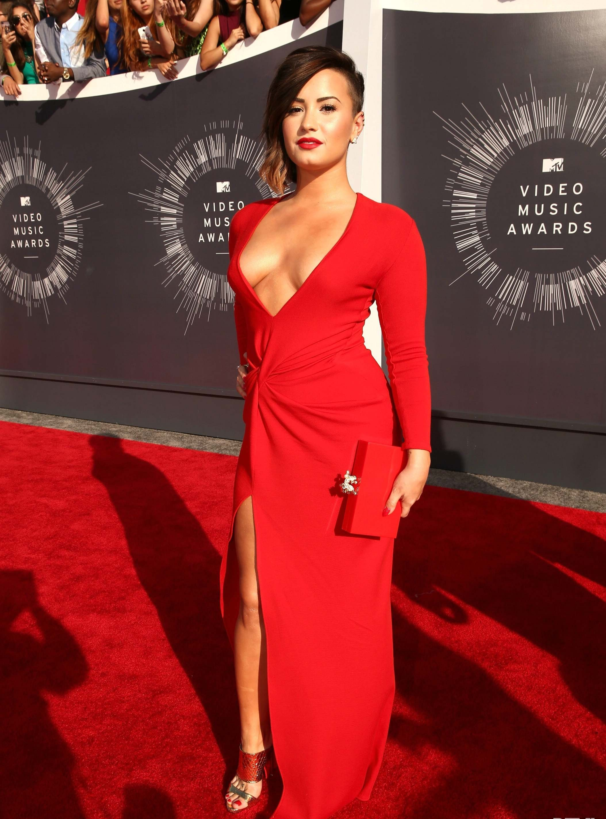 Demi Lovato red sexy dress