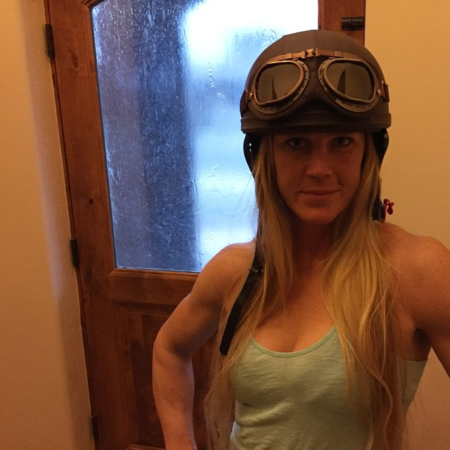 Holly Holm wearing Helmet