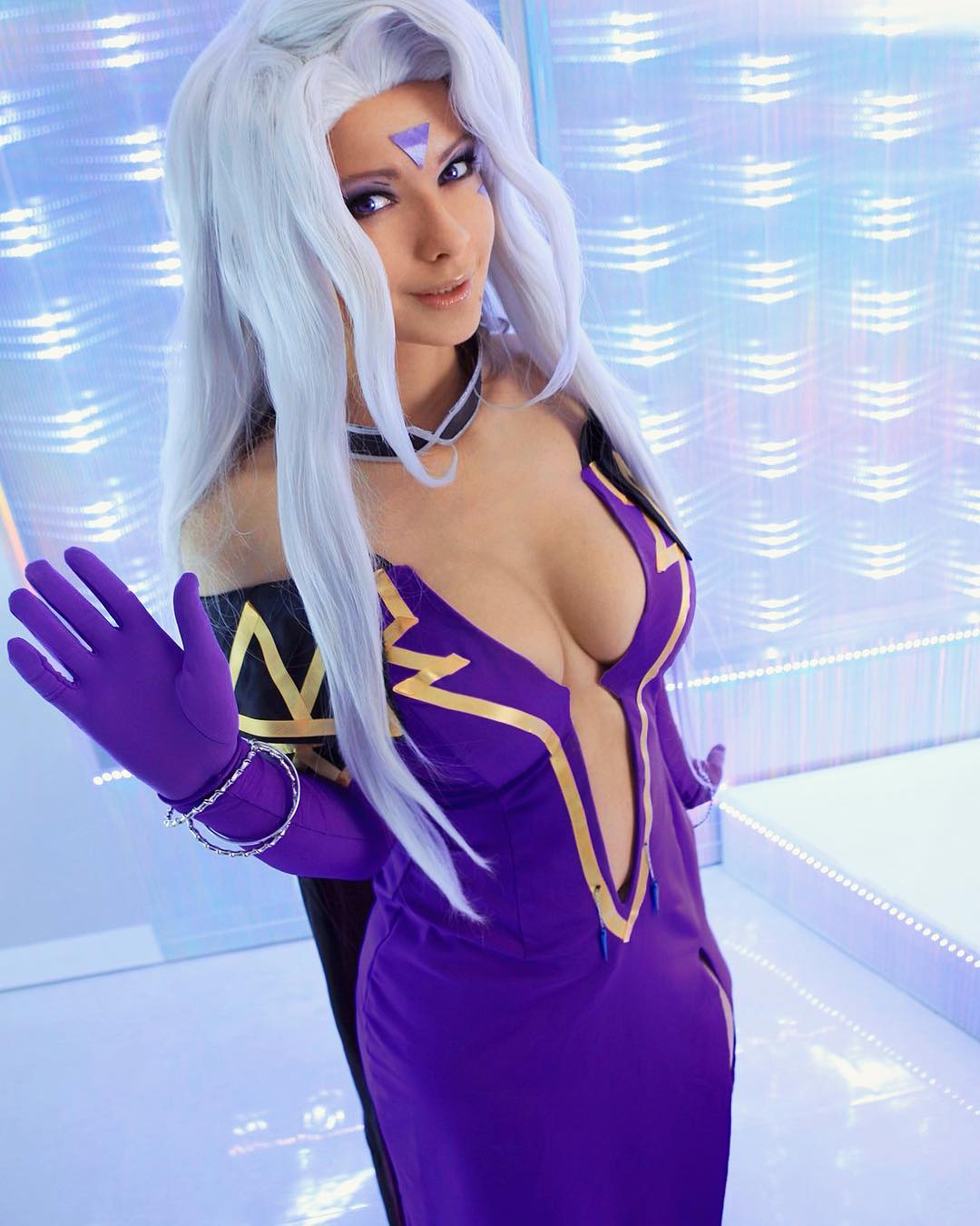 Jannet Incosplay Sexy Boosb Pictures on Blue Cosplay Dress