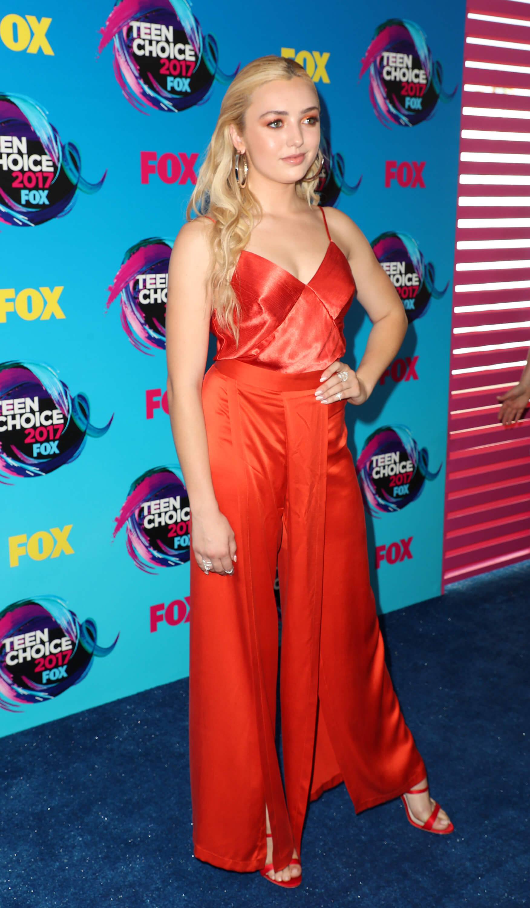 Peyton List long red dress