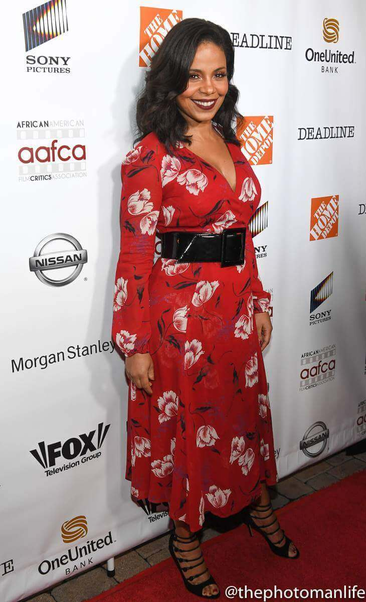 Sanaa Lathan long red dress