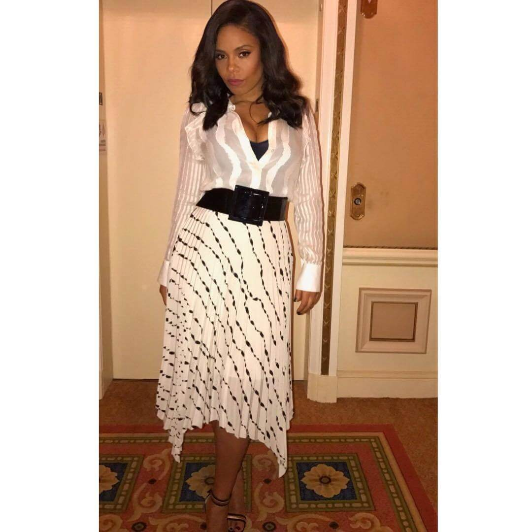 Sanaa Lathan long white dress