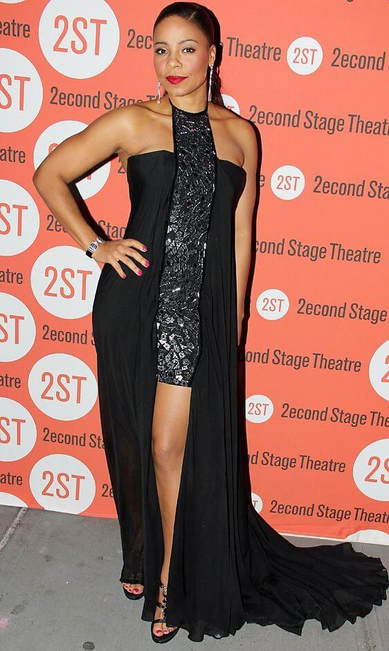 Sanaa Lathan sexy black dress