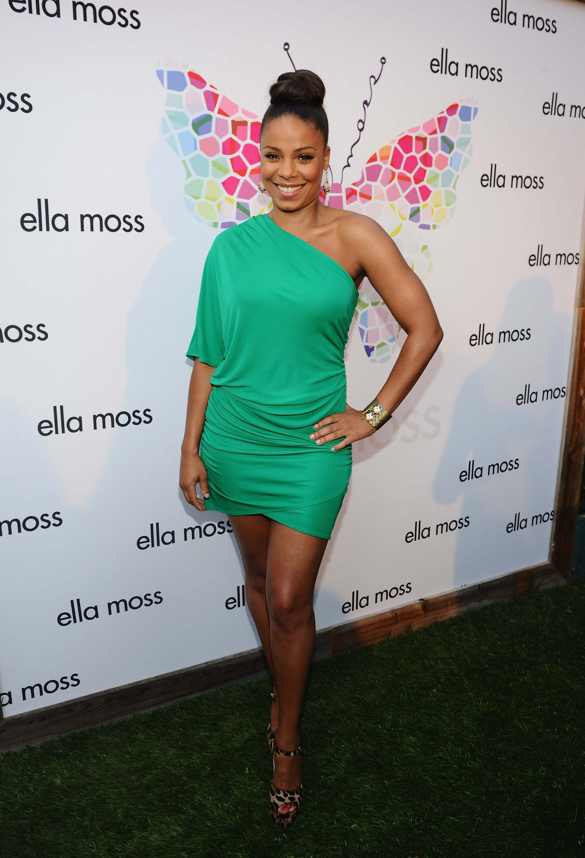 Sanaa Lathan sexy green dress
