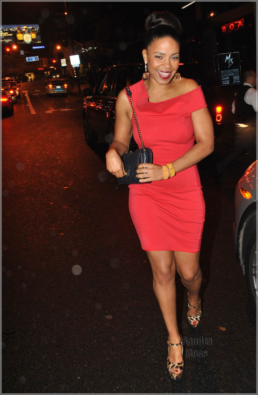 Sanaa Lathan sexy red dress