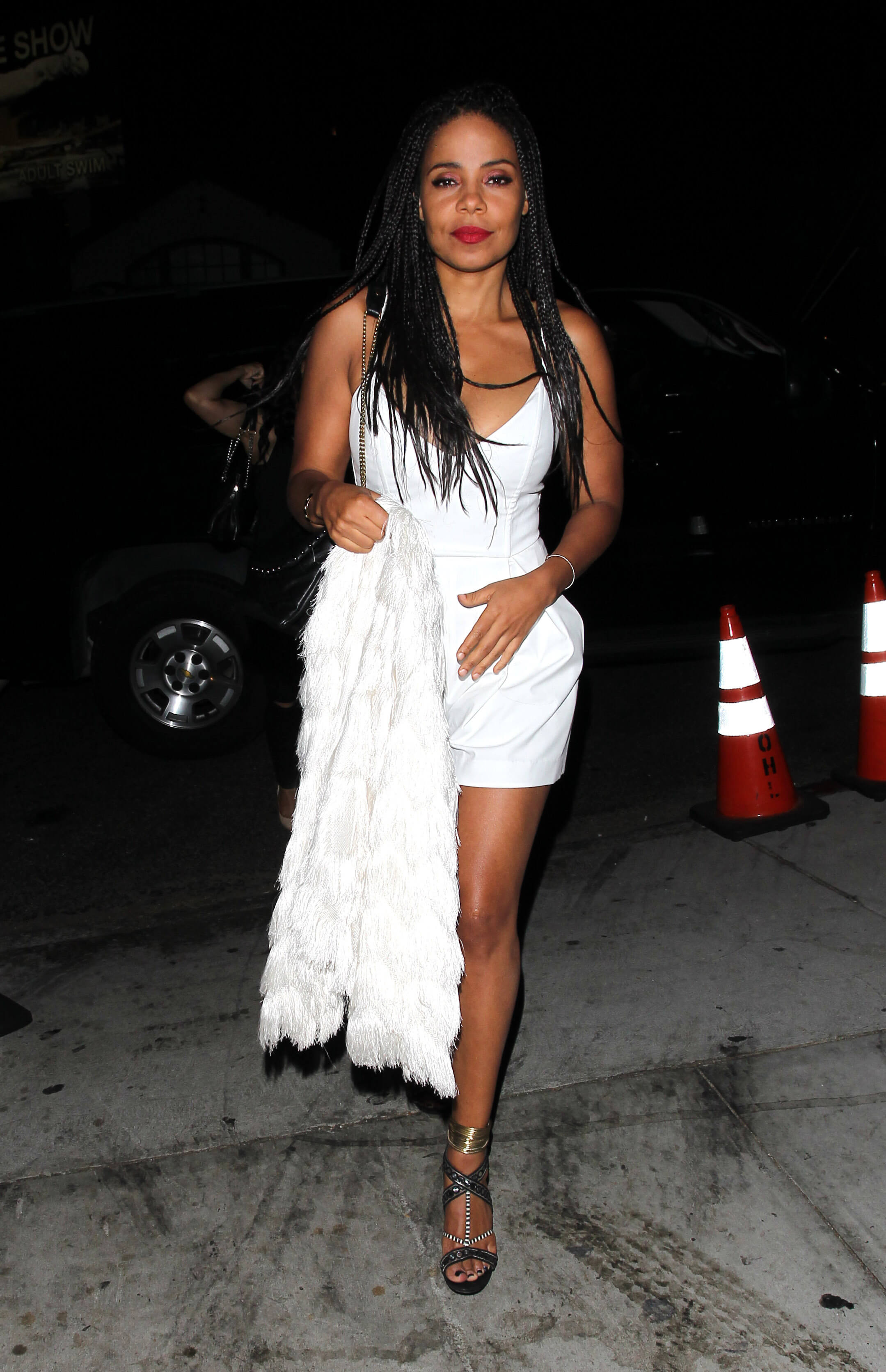 Sanaa Lathan sexy white dress