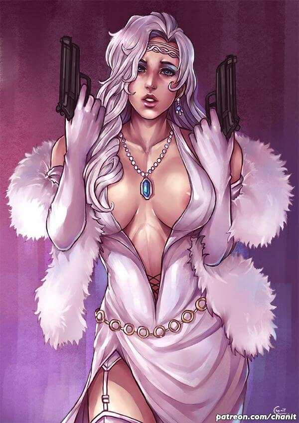 Silver Sable sexy cleavage
