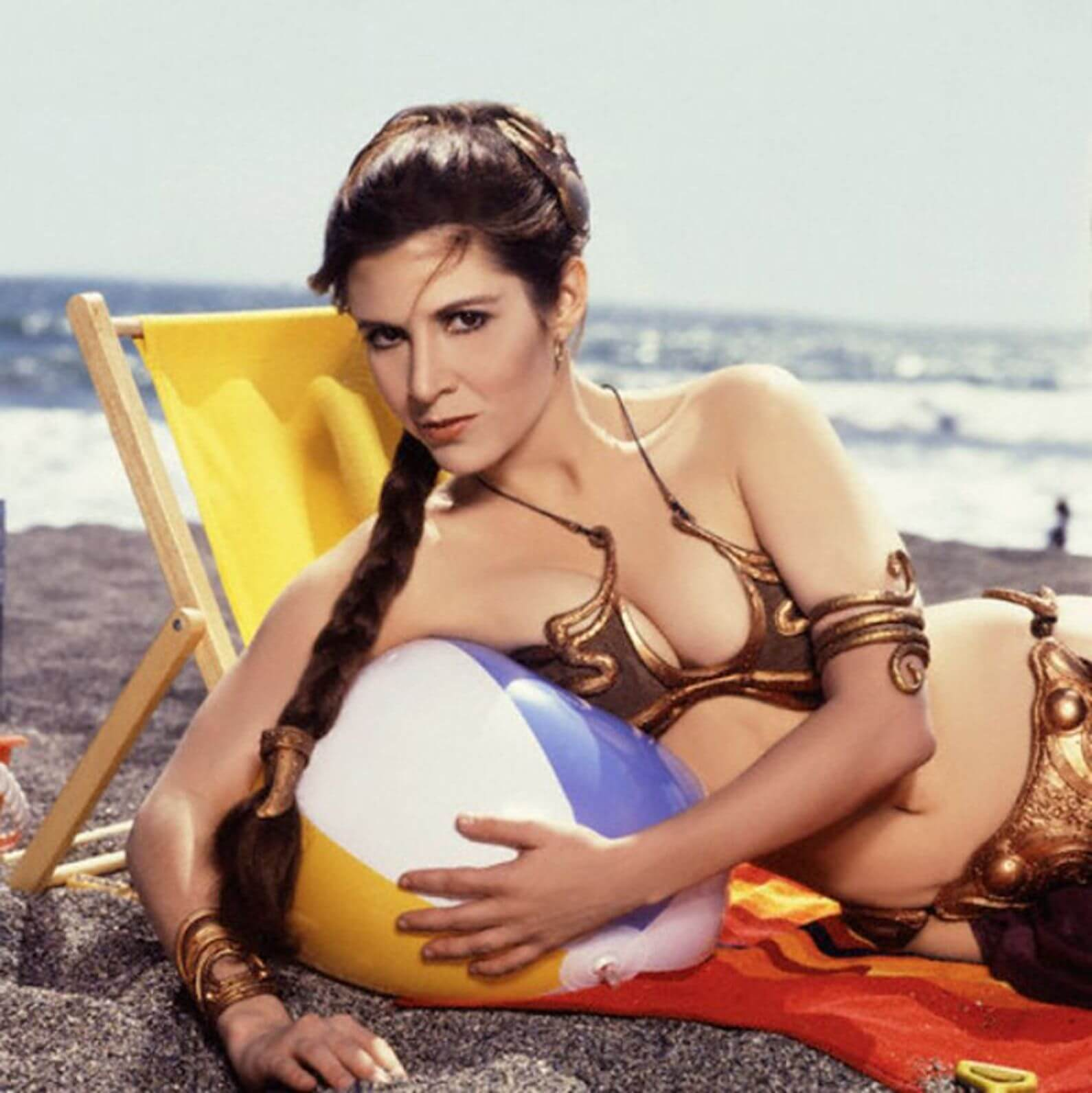 carrie fisher beach pics