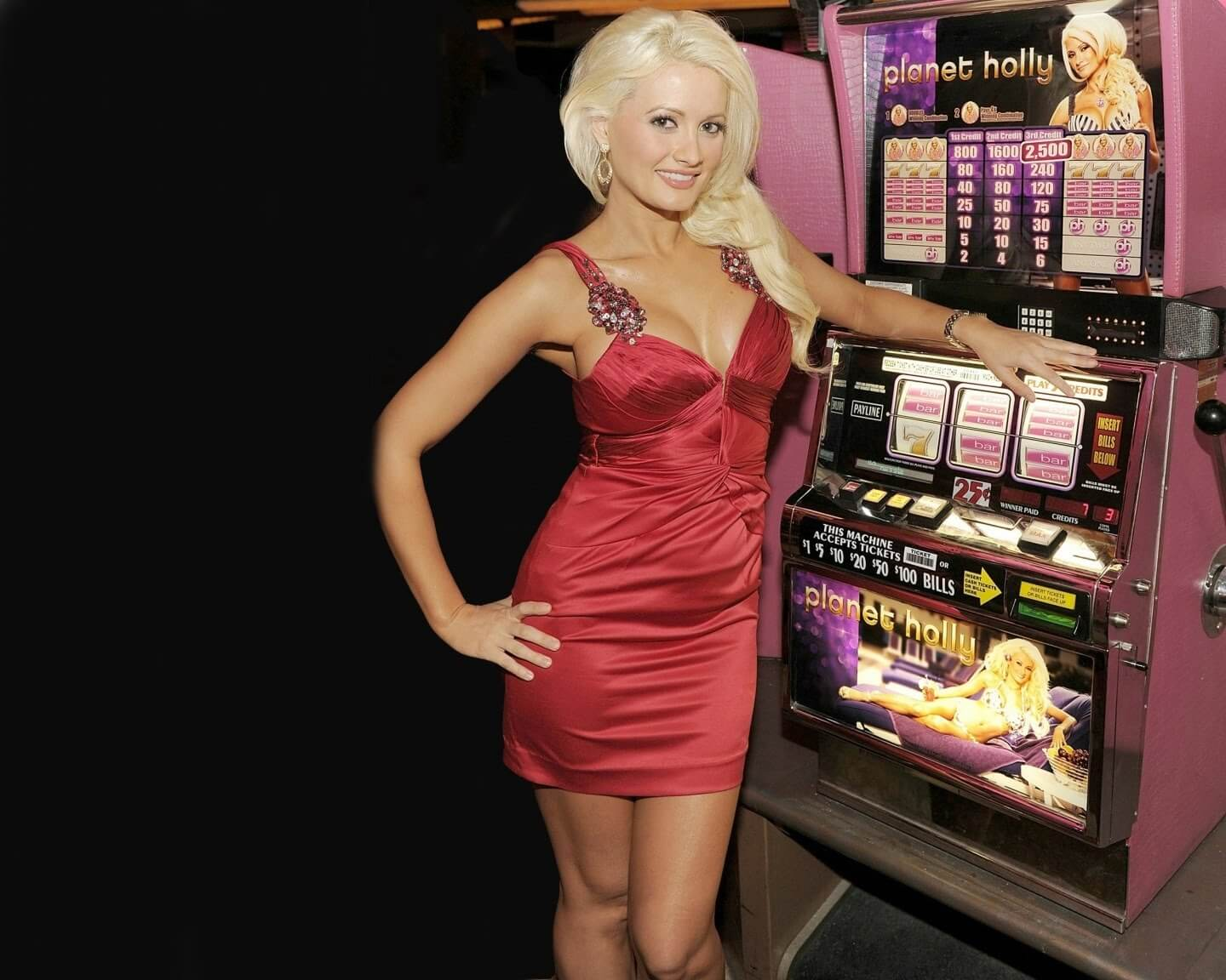holly madison red dress