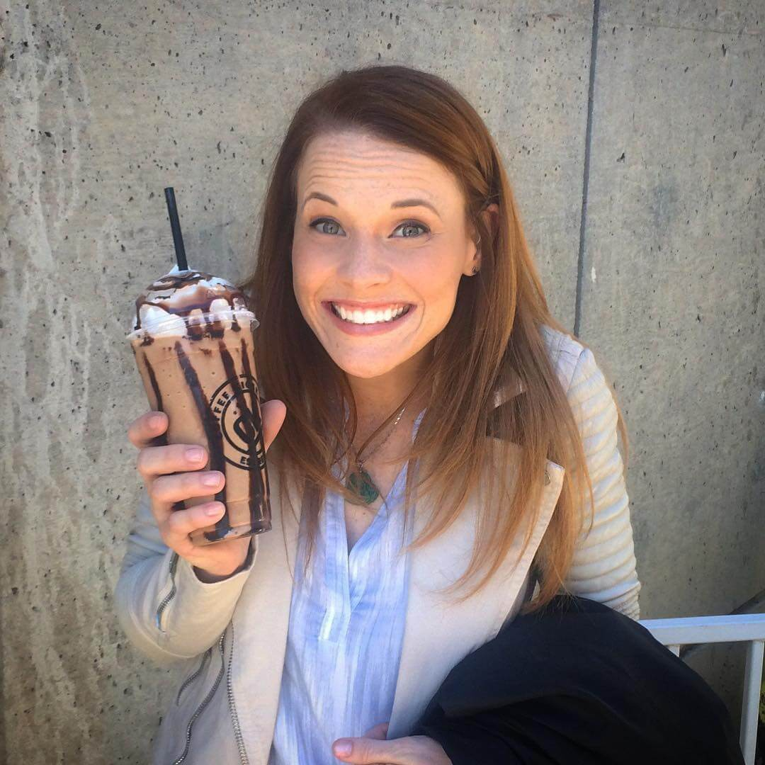 katie leclerc with drink