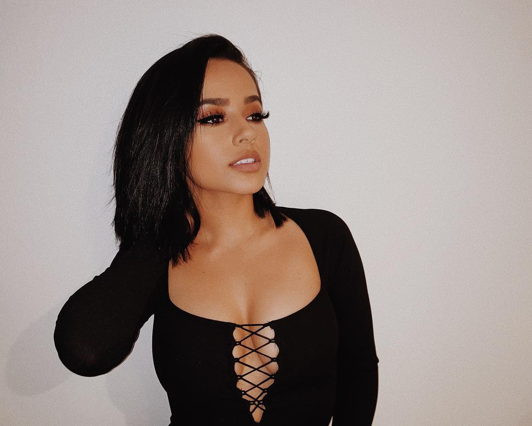 Becky G Sexy Big Boobs Pics on Black Dress