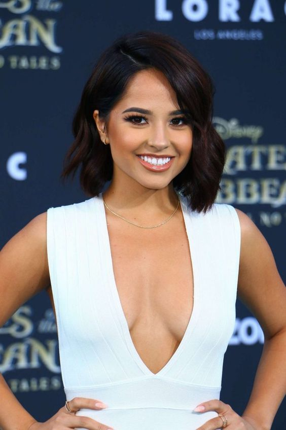 Becky G Sexy Boobs Pics on White Dress