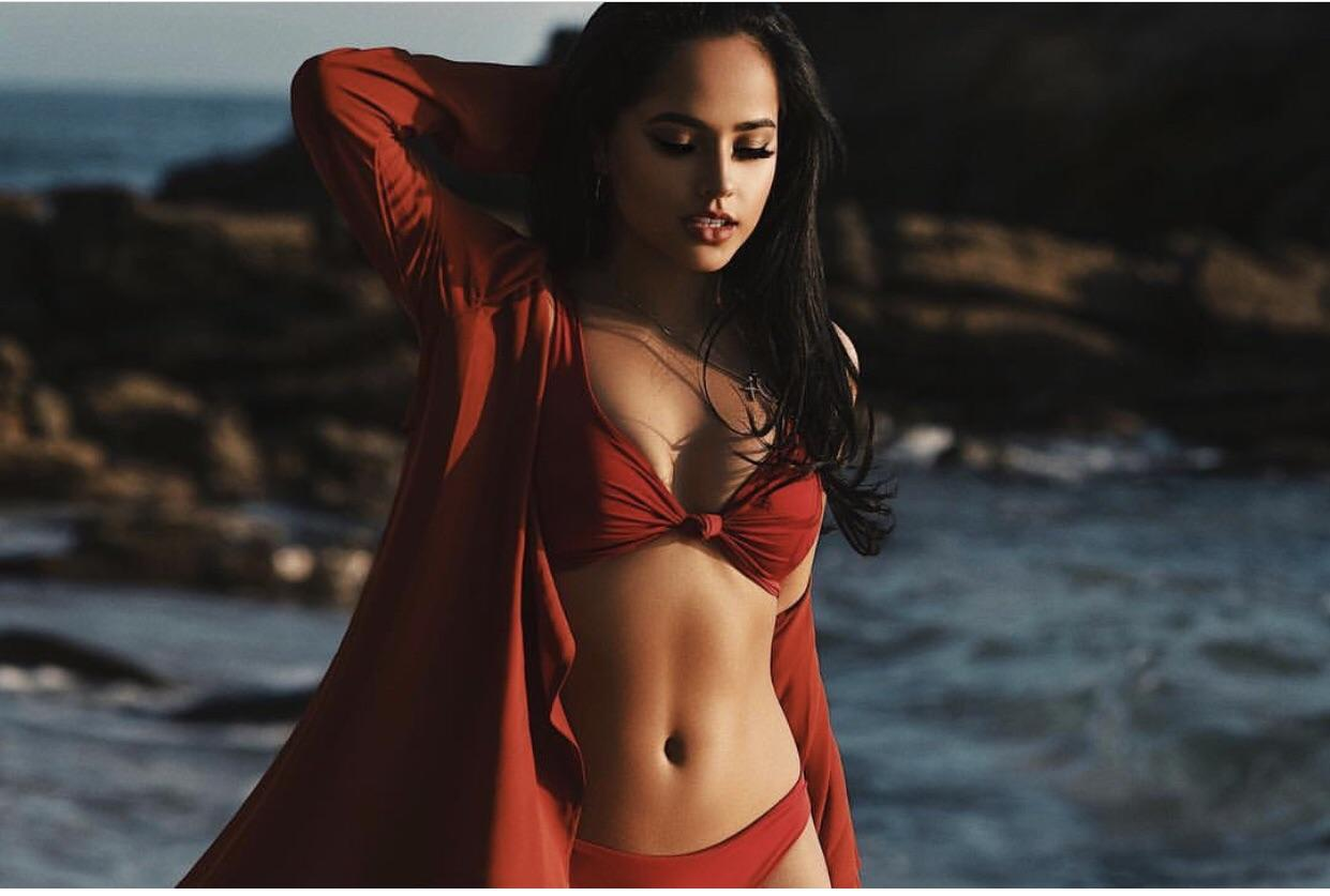 Becky G Sexy Boobs Pictures on Red Bikini