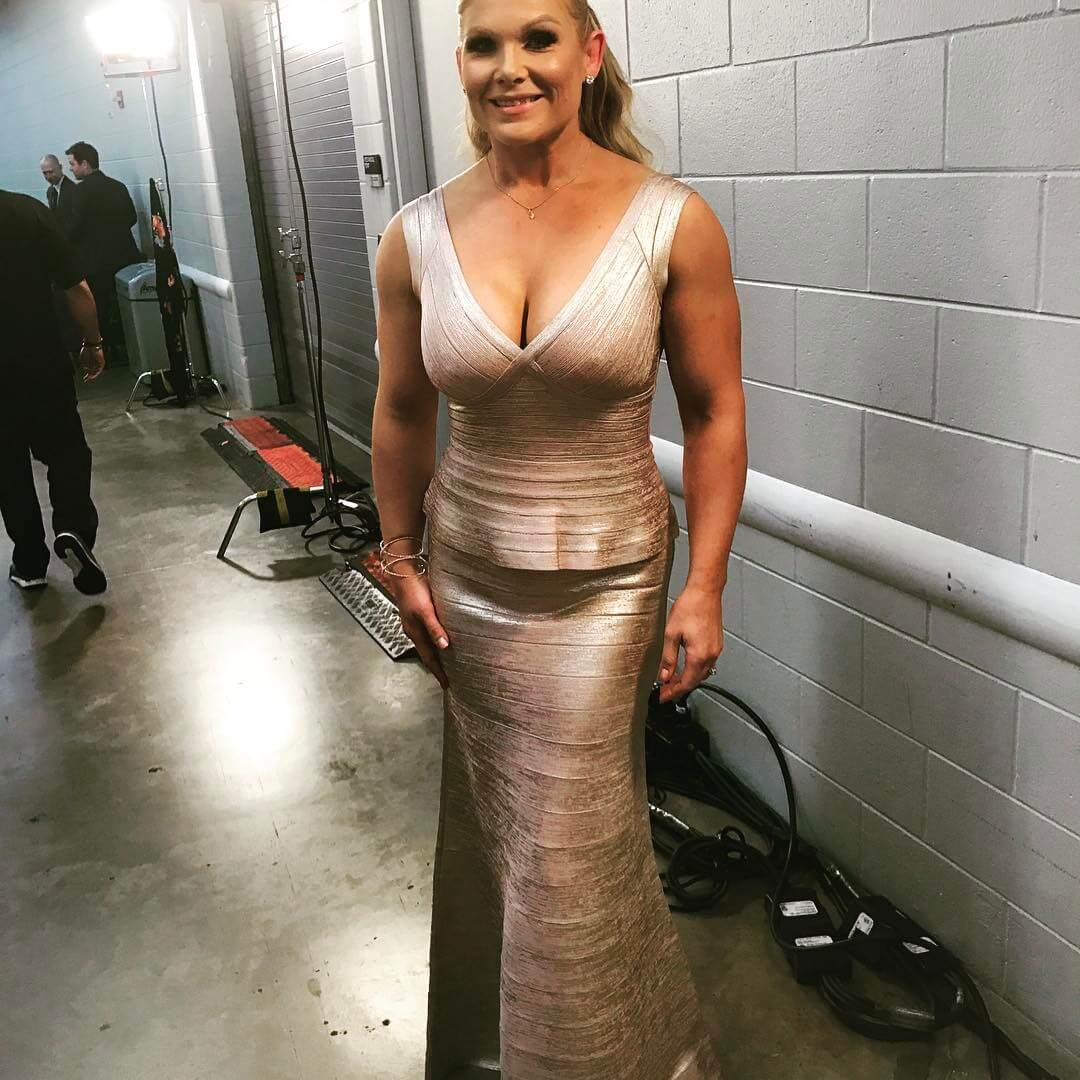 Beth Phoenix sexy long dress