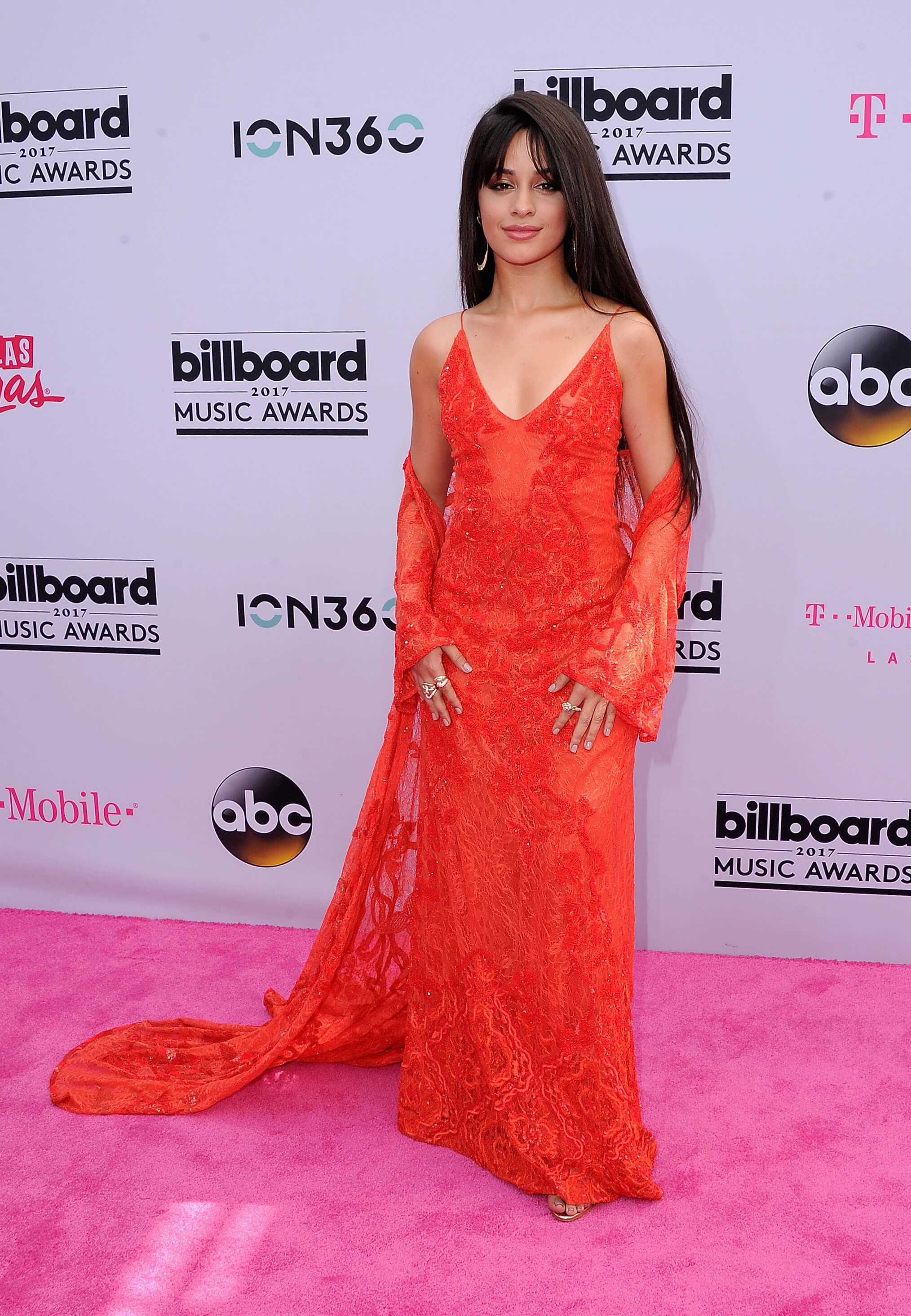 Camila Cabello long red dress