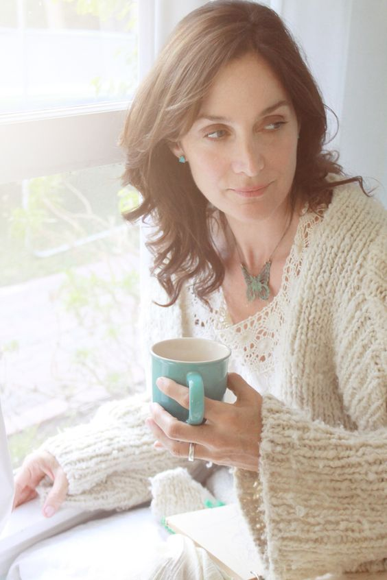 Carrie Anne Moss Taking Coffee