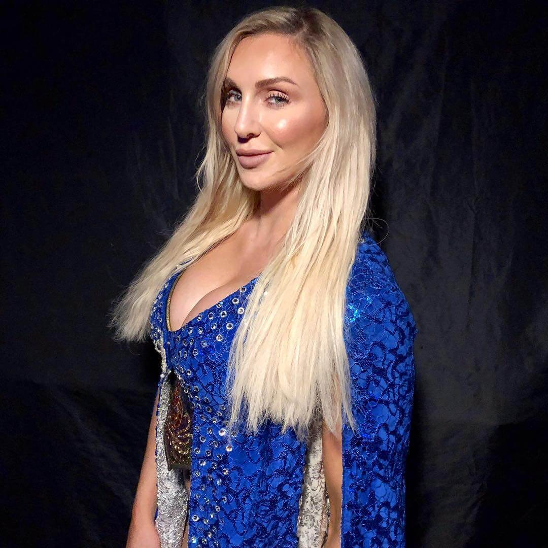 Charlotte Flair blue sexy dress