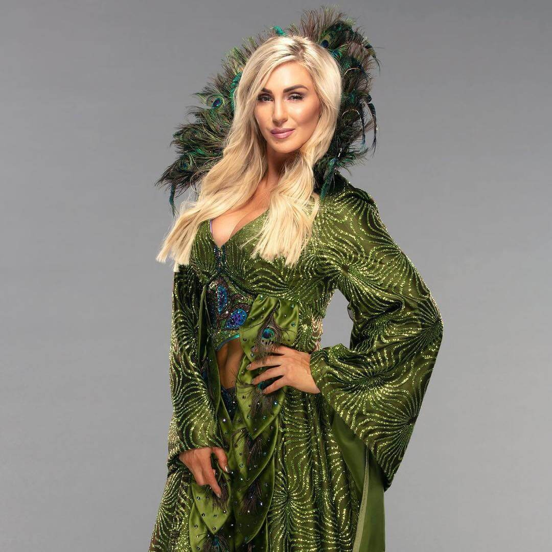 Charlotte Flair sexy green dress