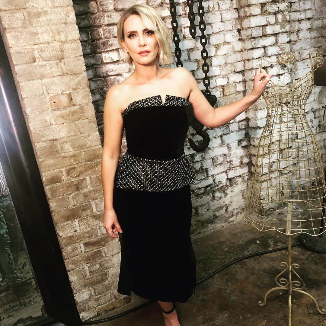 Claire Richards sexy black dress