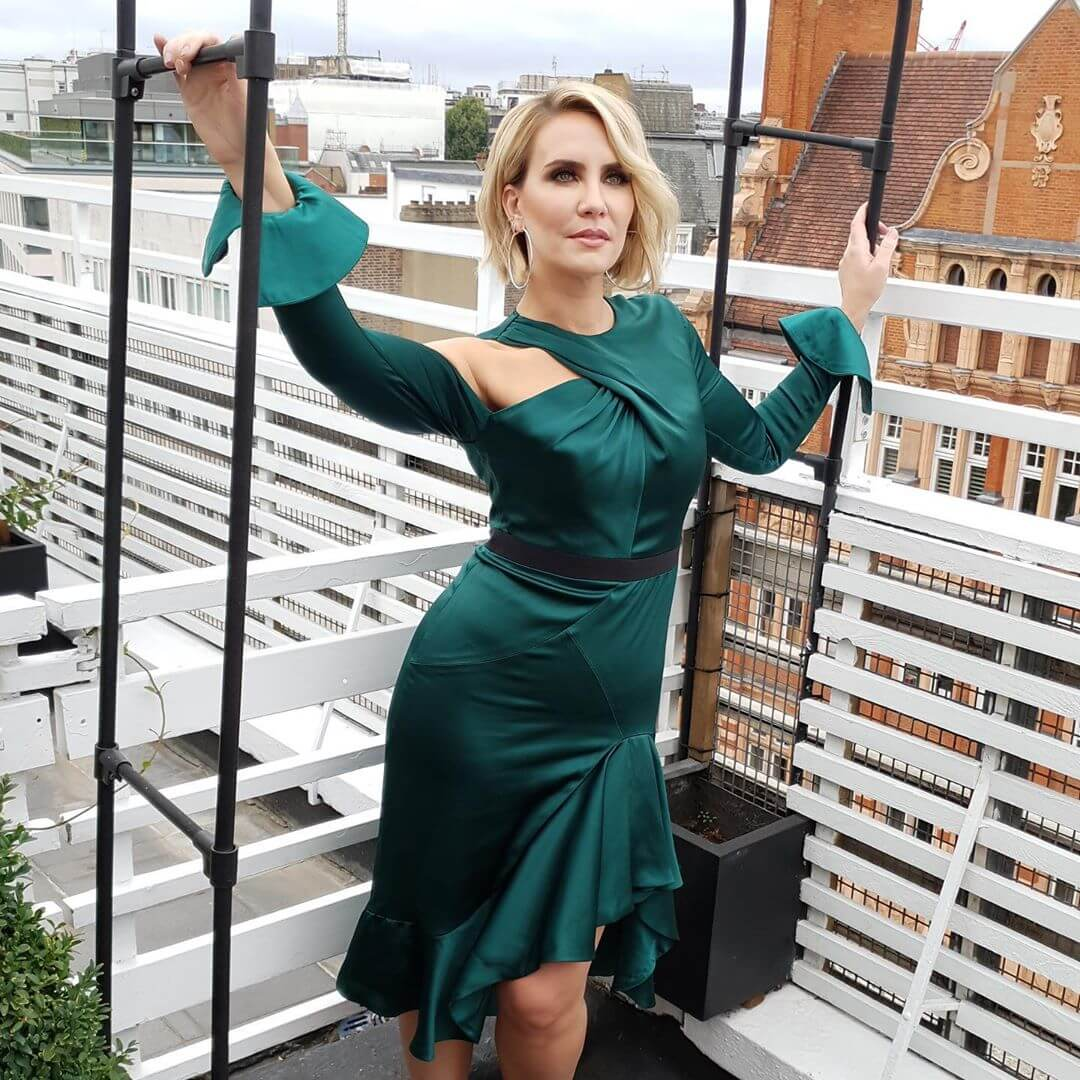 Claire Richards sexy green dress