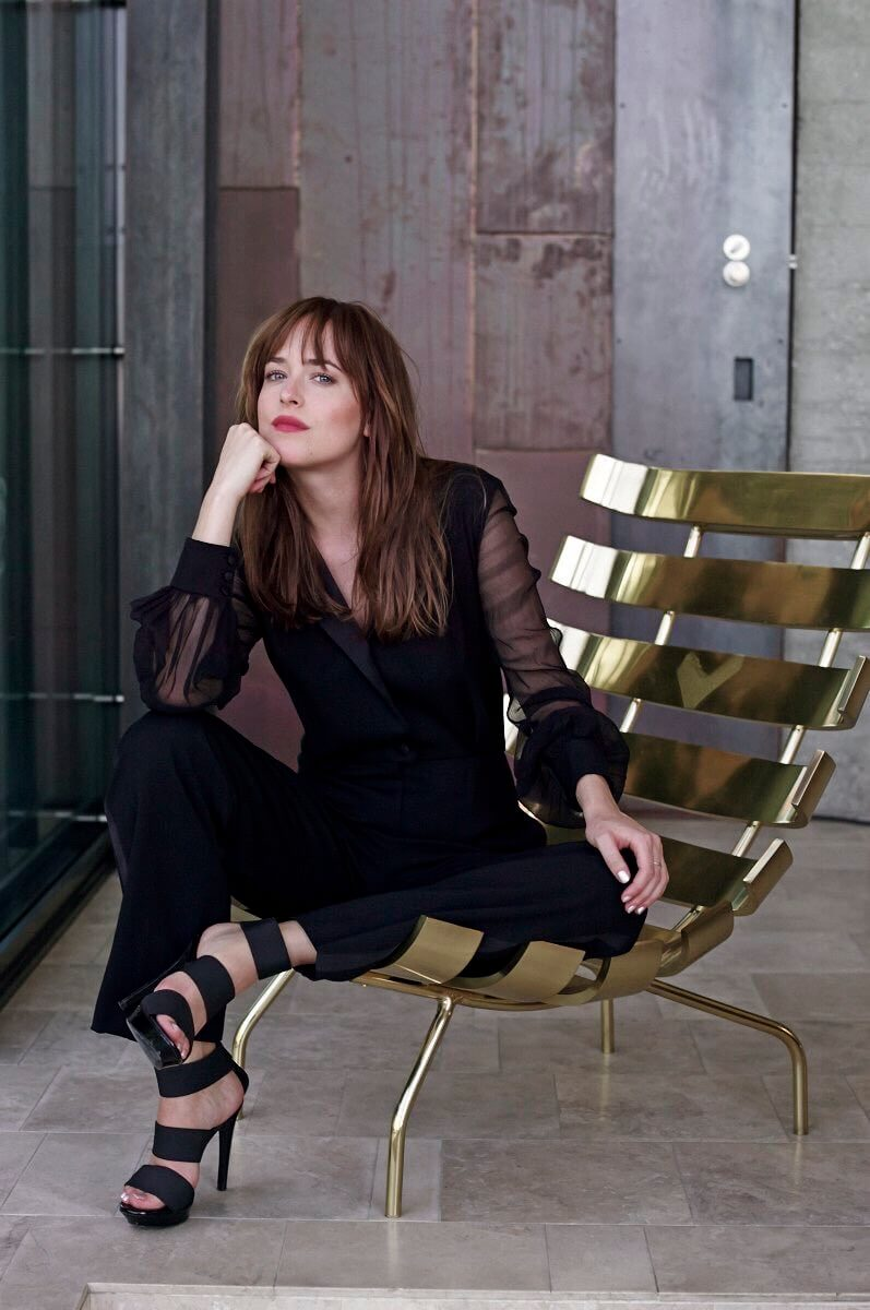 Dakota Johnson hot black dress