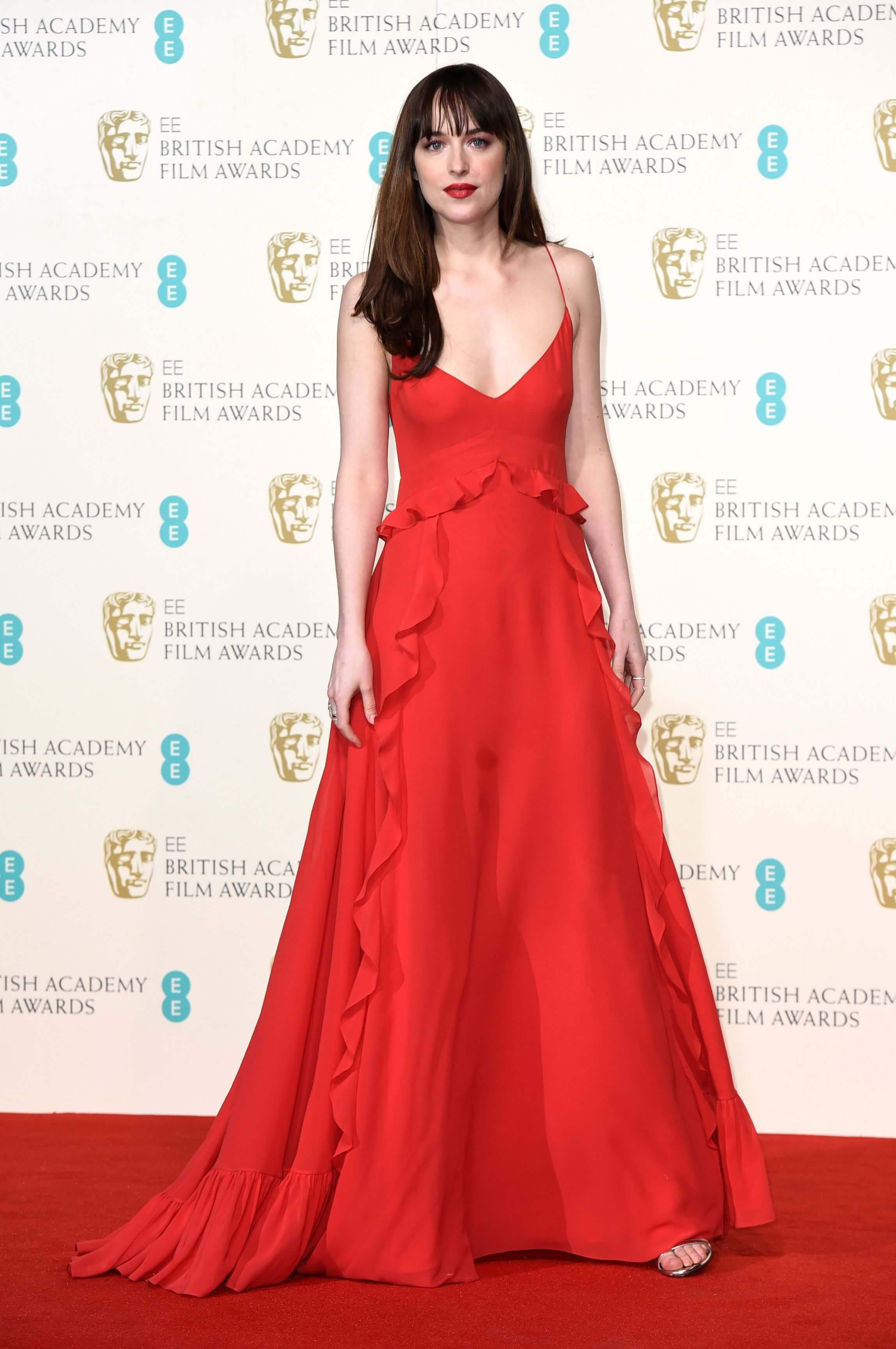 Dakota Johnson long red dress