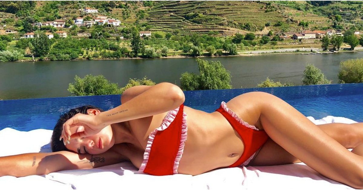 Dua Lipa Hot in Red Bikini