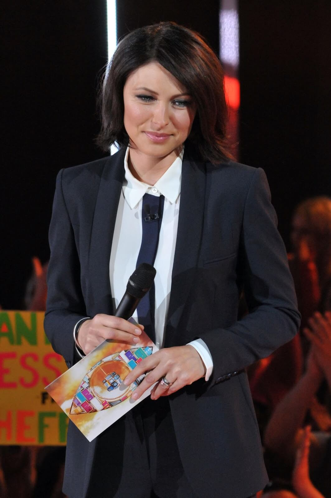Emma Willis big brother eviction suit tie heels