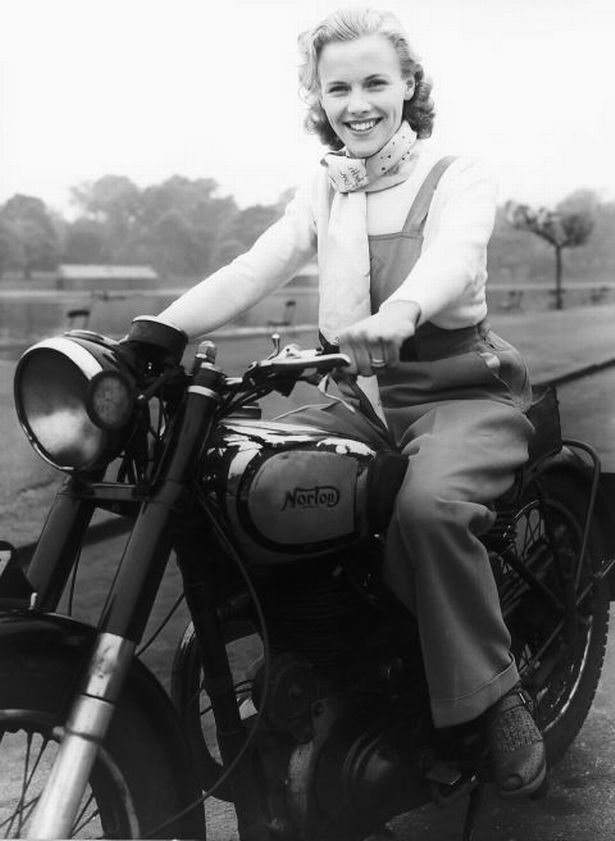 Honor Blackman on Bike