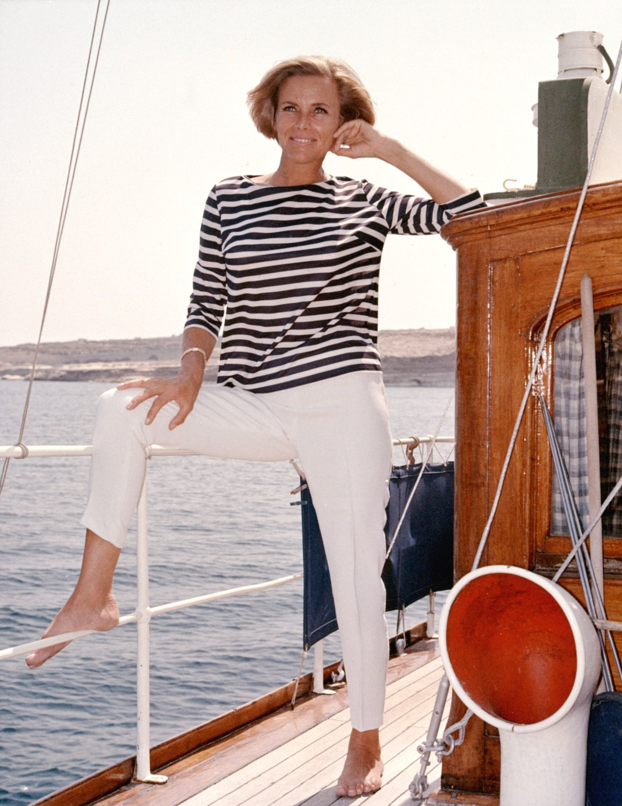 Honor Blackman on Boat
