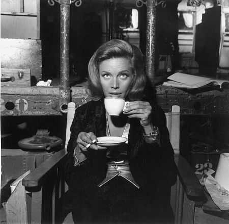 Honor Blackman taking Coffee