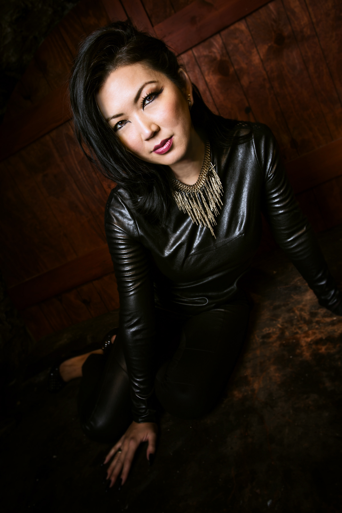 Jeanette Lee Hot in Leather Jacket