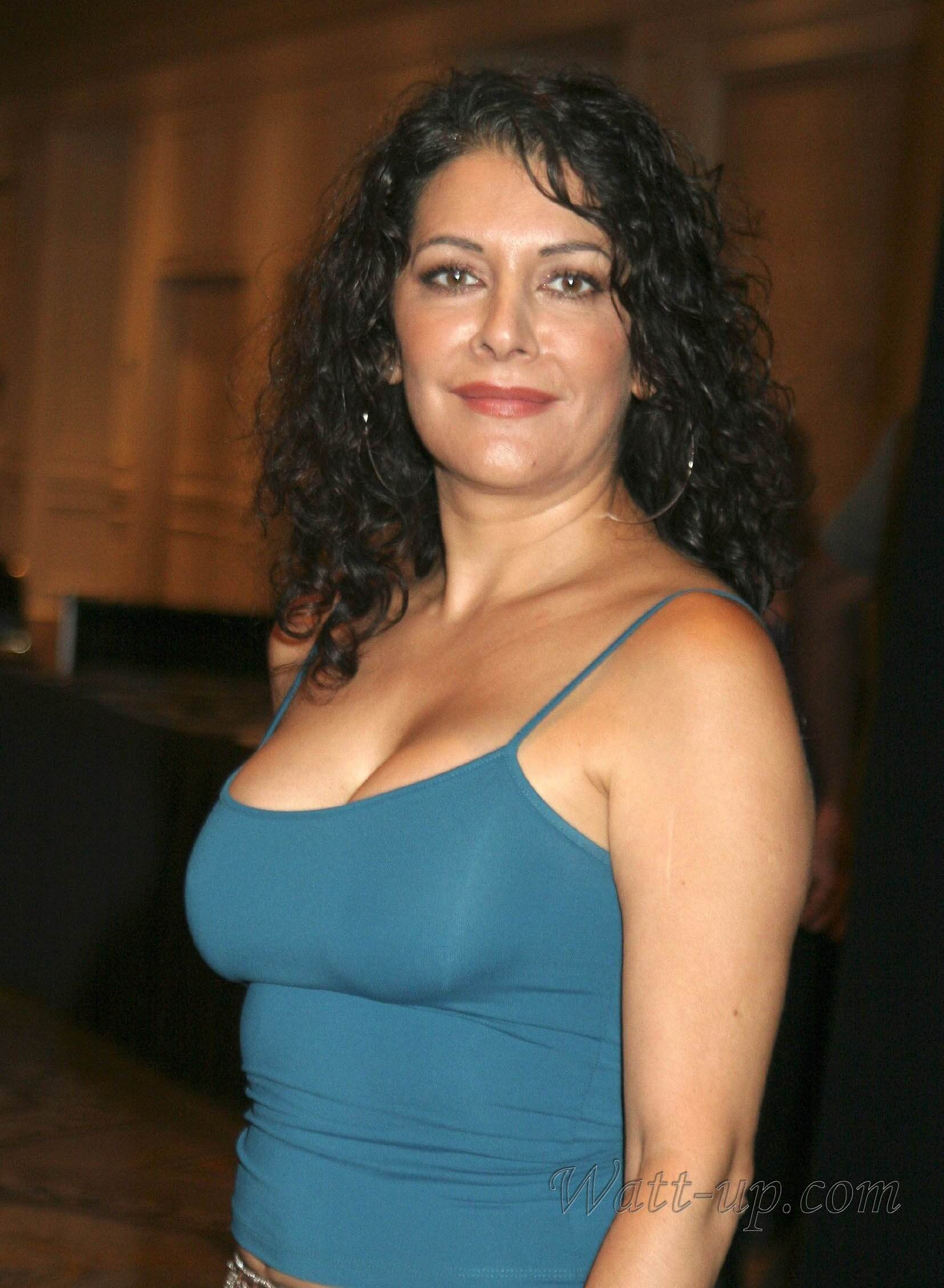 Marina Sirtis sexy blue dress