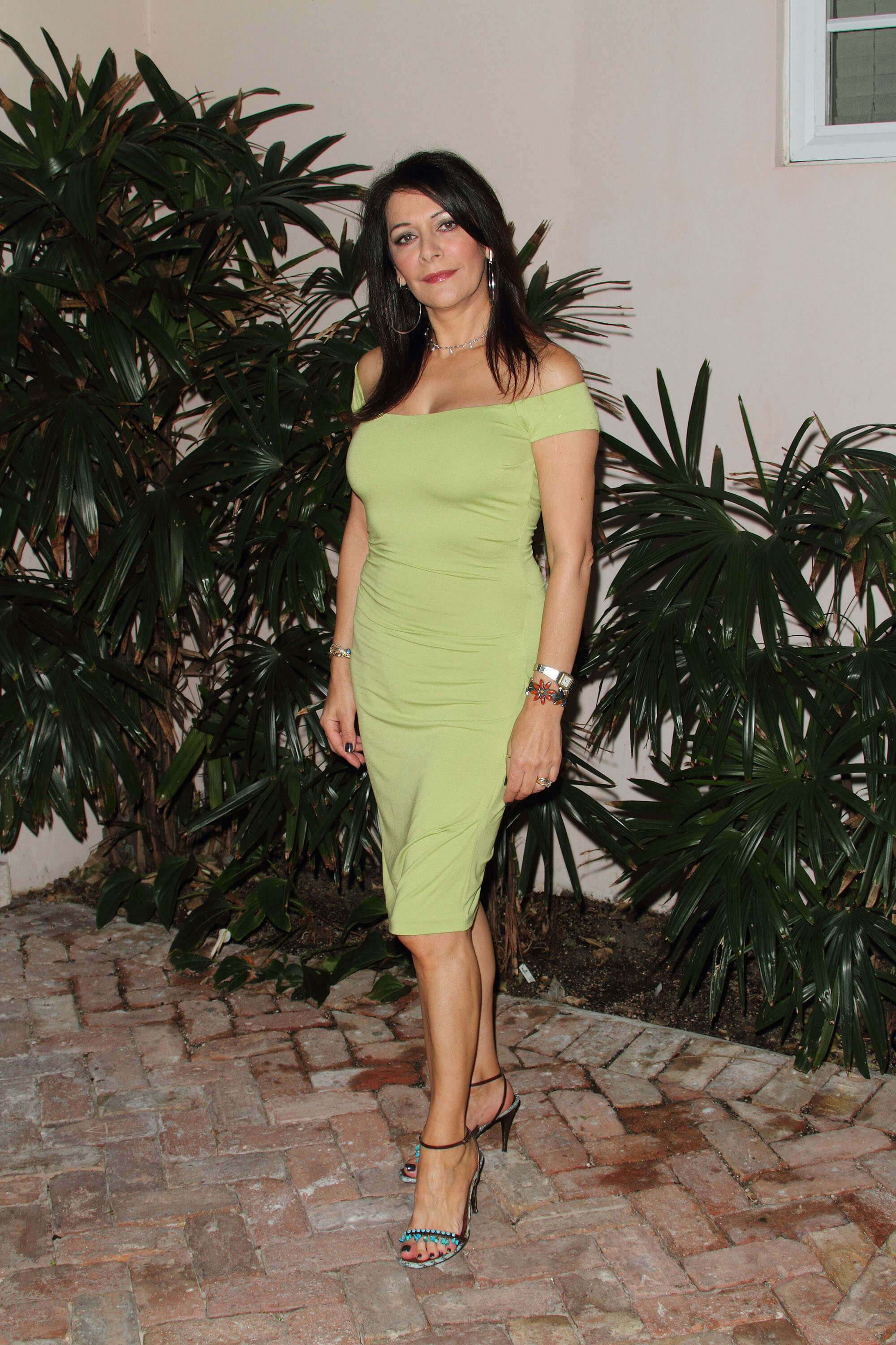 Marina Sirtis sexy green dress