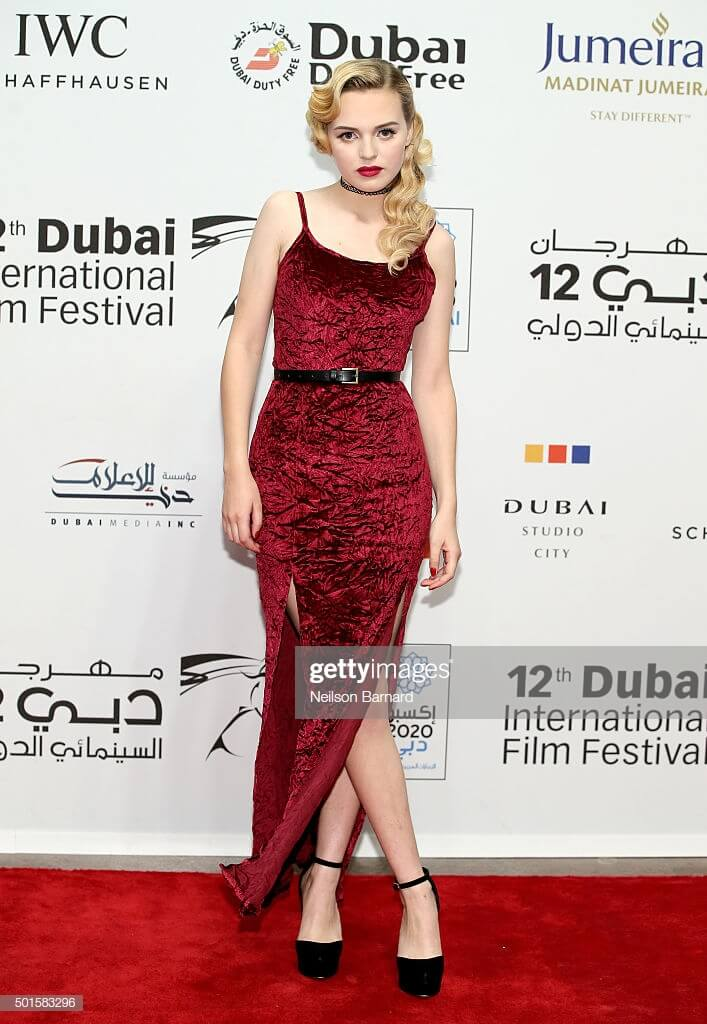 Odessa Young sexy red dress