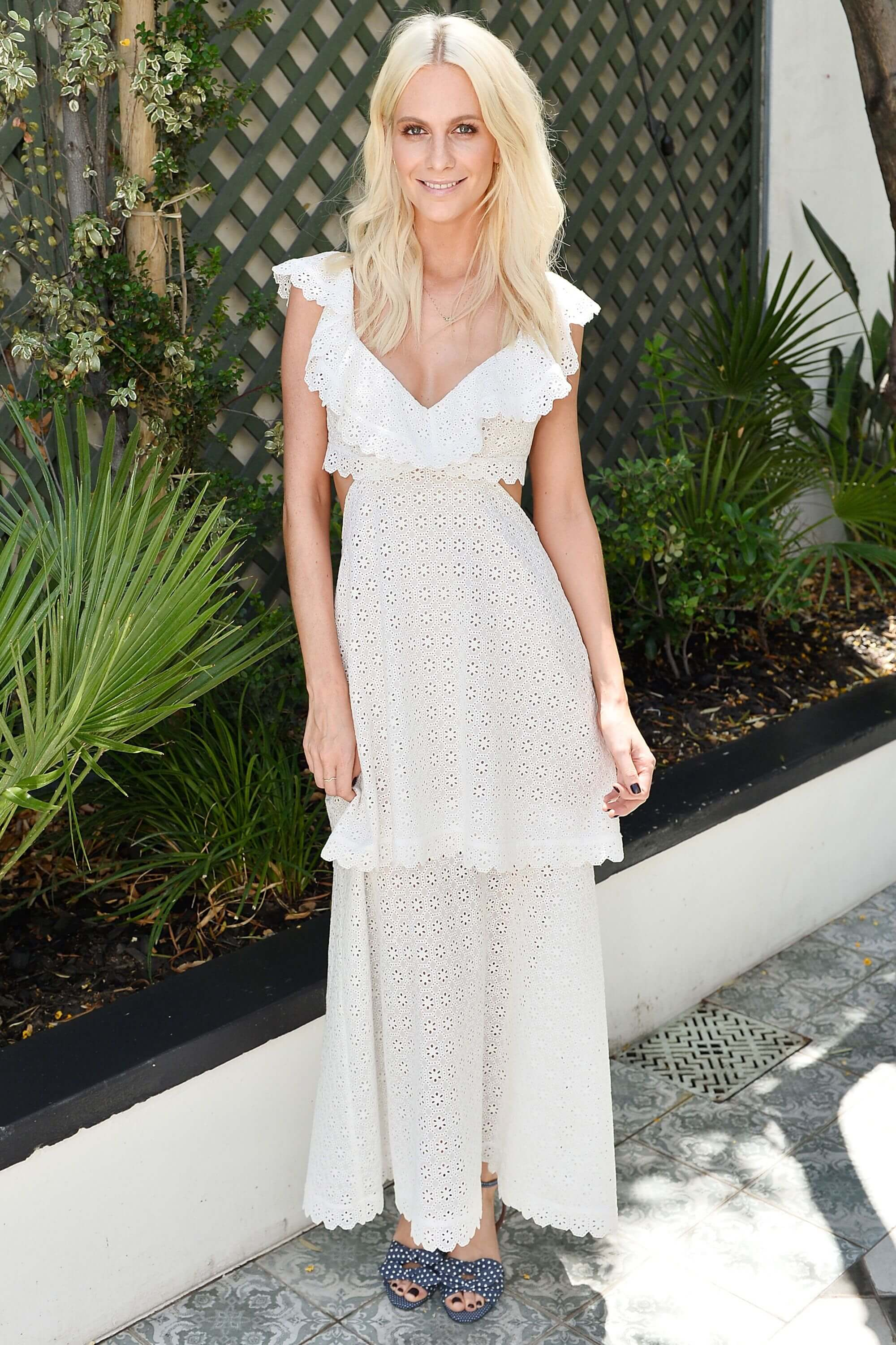 Poppy Delevingne long white dress