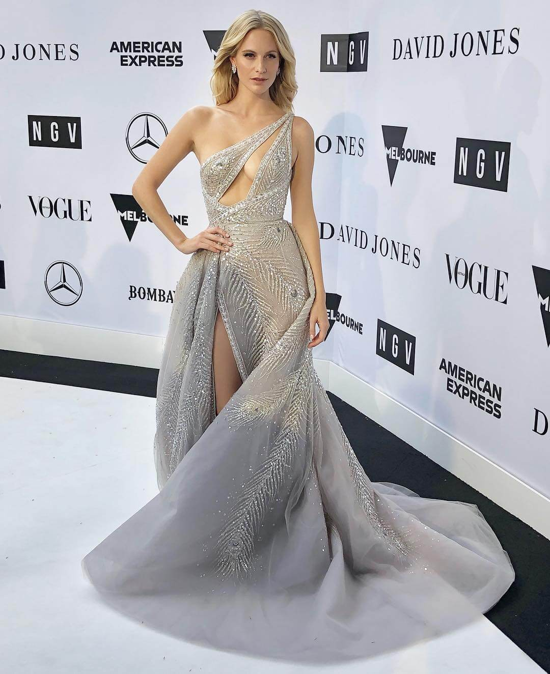 Poppy Delevingne sexy long dress pic