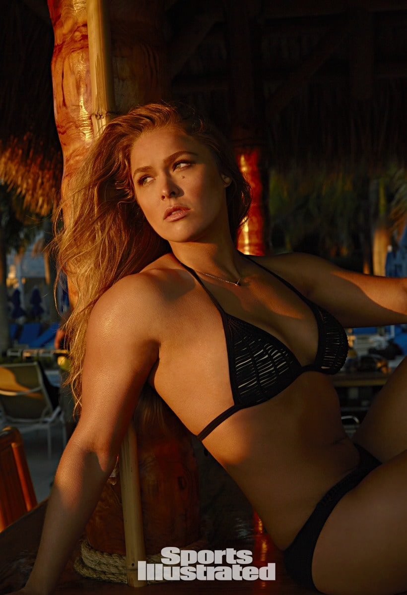 Ronda Rousey Sexy Big Boobs Pics on Black Lingerie