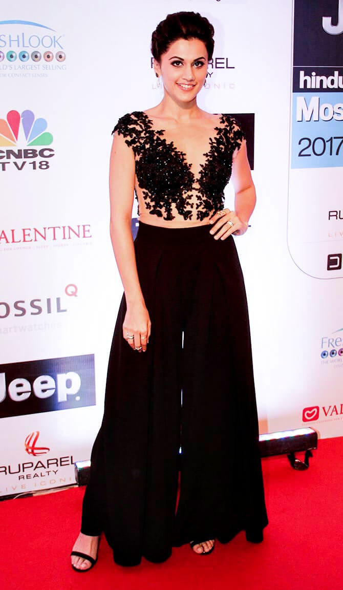 Taapsee Pannu long black dress pic