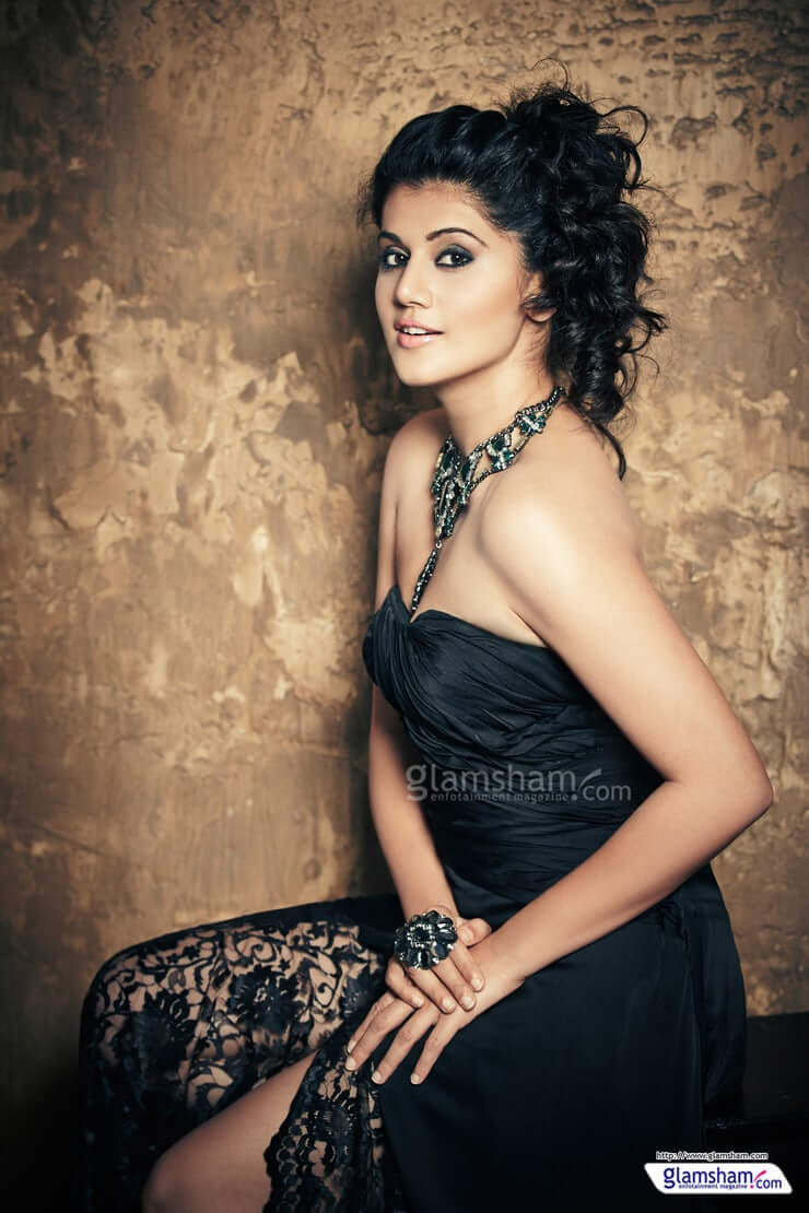 Taapsee Pannu sexy black dress