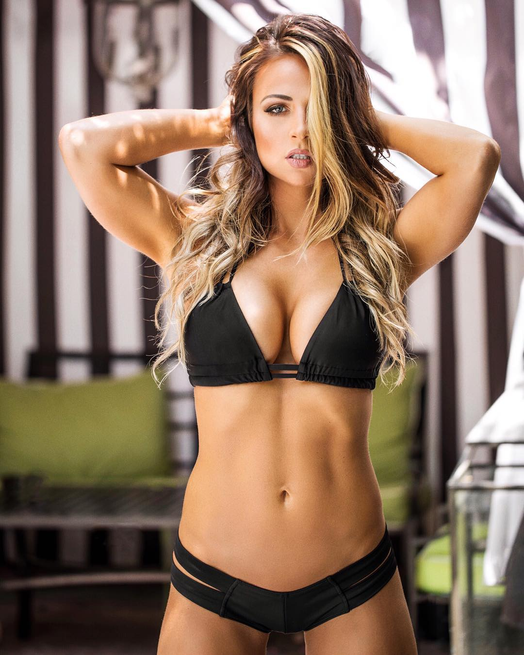 Tenille Dashwood Sexy Boobs Pictures on Black Bikini