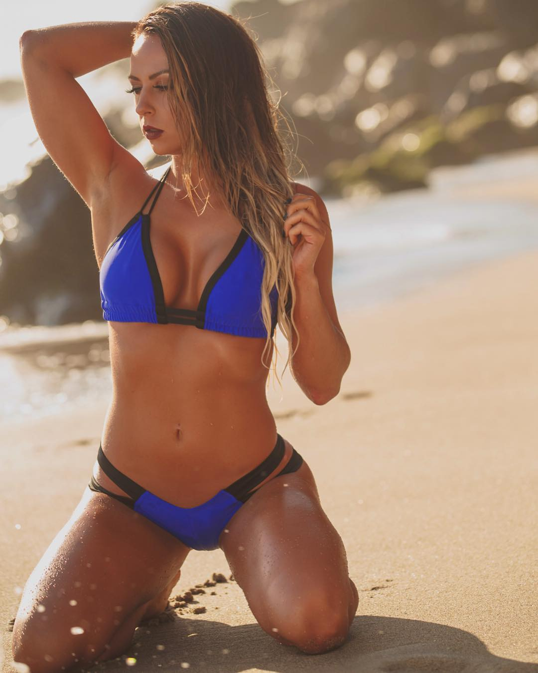 Tenille Dashwood Sexy Boobs Pictures on Blue Bikini