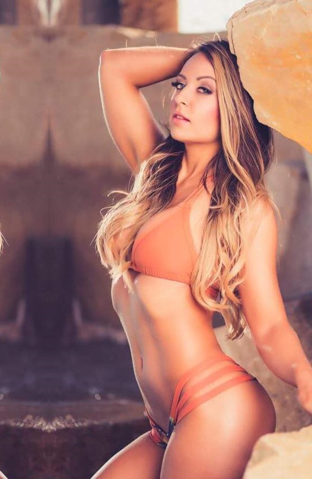 Tenille Dashwood Sexy Boobs Pictures on Orange Bikini